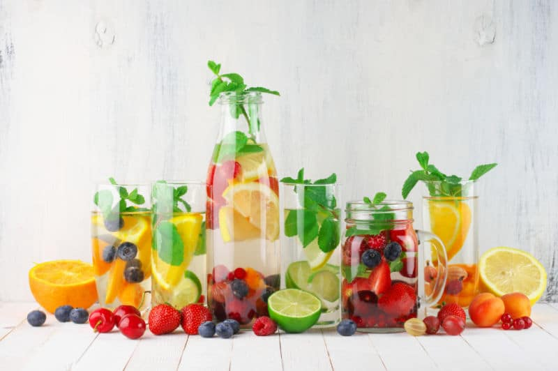A variety of infused water recipes